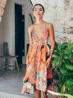 Aura V-Neck Boho Dress - Multi - Front