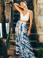 Maxi Skirt in Blue Tie Dye - 4