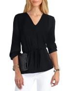 Gigi Parker Long Sleeves Smocked Shoulder Blouse - Black - Front