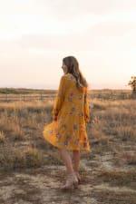 Odessa Mustard Embroidered  Baby Doll Dress - Mustard - Back