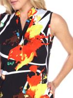 Sleeveless with Vibrant Prints Zuri' Tunic Dress - Black / Orange - Detail