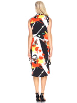 Sleeveless with Vibrant Prints Zuri' Tunic Dress - Black / Orange - Back