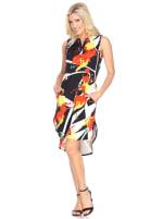 Sleeveless with Vibrant Prints Zuri' Tunic Dress - Black / Orange - Front