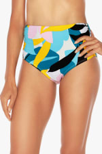 Tahari Poptomistic Side Ruched Hi-Waist Swimsuit Bottom - Multi - Front