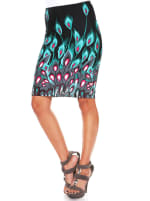 Feather Print Stretchy Pencil Skirt - Green Peacock - Front