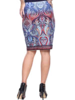 Knee Length Fitted Pencil Skirt - Blue - Back