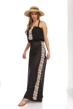 Strapless Lace Trim Beach Cover Up Jumpsuit - 25