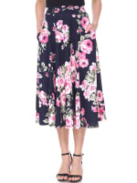 Floral Inverted Pleats Flared Midi Skirt - Navy - Front