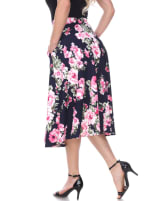 Floral Inverted Pleats Flared Midi Skirt - Navy - Back