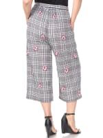 Retro Gaucho Geometric Print Pants - Plus - Red Flower - Back