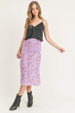 Floral Pleated Maxi Skirt - 14