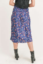 Floral Pleated Maxi Skirt - Blue Floral - Back