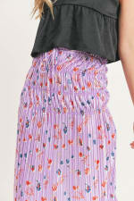 Floral Pleated Maxi Skirt - 16