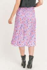 Floral Pleated Maxi Skirt - Lavender Floral - Back