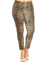 Printed Cheetah Super Stretchy Pants - Plus - 1