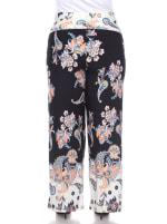 Floral Paisley Printed Palazzo Pants - Plus - Black / White - Back
