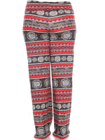 Printed Relaxed Wide Palazzo Pants - Plus - Round Red - Back