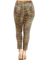 Printed Cheetah Super Stretchy Pants - Plus - Brown Leopard - Back