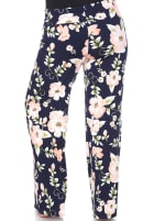 Floral Print Wide Palazzo Pants - Plus - Peach Flower - Back
