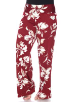 Flower Print Wide Palazzo Pants - Plus - Red - Front