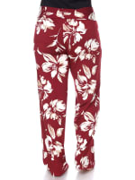 Flower Print Wide Palazzo Pants - Plus - Red - Back