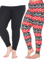 Pack of 2 Form Fitting Stretchy Leggings - Plus - 3