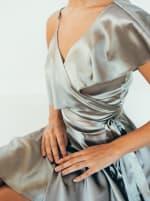 Sofia Wrap Dress - Silver - Detail