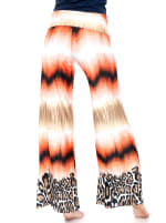 Printed Orange Teal Wide Palazzo Pants - Safari Sunrise - Back