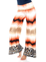 Printed Orange Teal Wide Palazzo Pants - Safari Sunrise - Front