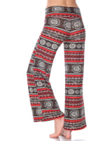 Printed Long Palazzo Pants - Round Red - Back