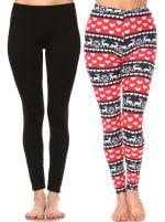 Pack of 2 Soft Versatile Leggings - Black, Red / White - Front