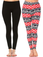 Pack of 2 Soft Versatile Leggings - Black, Red / White - Back