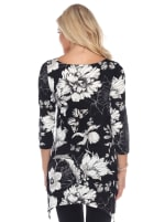 Maternity Floral Scoop Neck Tunic Top with Pockets - Black / White - Back
