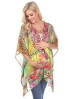 Maternity Animal Print Caftan with Tie-up Neckline - Plus - Yellow Leopard - Front
