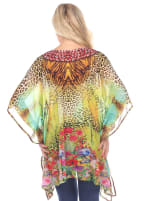 Maternity Animal Print Caftan with Tie-up Neckline - Plus - Yellow Leopard - Back