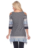 Maternity Printed Cold Shoulder Tunic - Black / White - Back