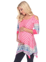 Maternity Printed Cold Shoulder Tunic - Plus - 9