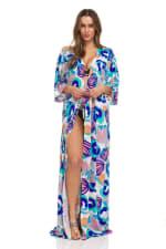 Blue Maxi Robe - Blue / Multi - Front