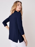 Roz & Ali 3/4 Sleeve Scallop Trim Cardigan - Shipshape Navy - Back