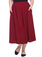 Tasmin Flare Floral Midi Skirts - Plus - Burgundy - Front