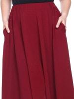 Tasmin Flare Floral Midi Skirts - Plus - Burgundy - Detail