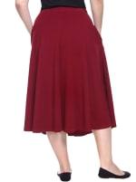 Tasmin Flare Floral Midi Skirts - Plus - Burgundy - Back