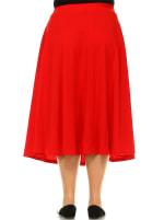 Tasmin Flare Floral Midi Skirts - Plus - Red - Back