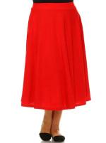 Tasmin Flare Floral Midi Skirts - Plus - Red - Front