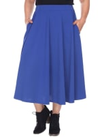 Tasmin Flare Floral Midi Skirts - Plus - Royal - Front