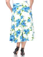 Flower Print 'Tasmin' Flare Midi Skirts - Plus - 4