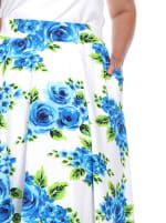 Flower Print 'Tasmin' Flare Midi Skirts - Plus - 5