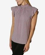 Adrienne Vittadini Short Sleeve Blouse with Smocked Neck - 3