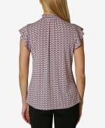 Adrienne Vittadini Short Sleeve Blouse with Smocked Neck - 2