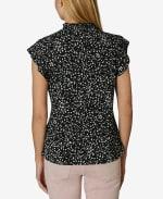 Short Sleeve Blouse with Smocked Neck - Bubbly Dot - Back